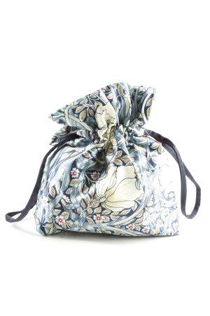 H&M Beuteltasche blau-wollweiß Blumenmuster Casual-Look