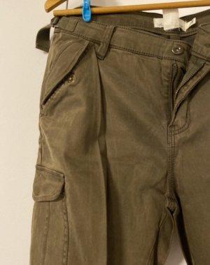 H&M Pantalon kaki gris vert-kaki