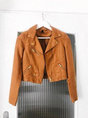 H&M Kurtka typu biker cognac-brązowy