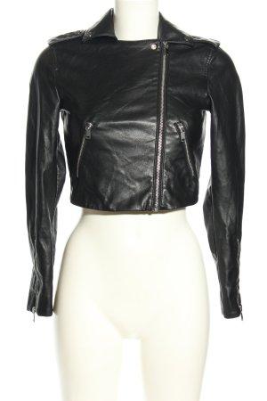 H&M Bikerjack zwart casual uitstraling
