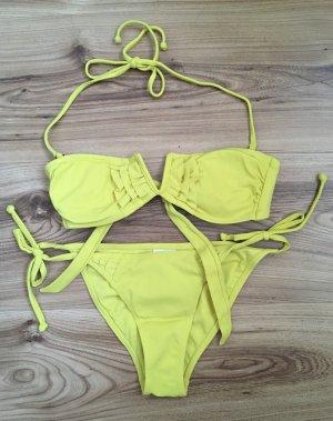 H&M Bikini Set XS 34 Neckholder Balconette Oberteil Push-up Bandeau Gelb Bademode