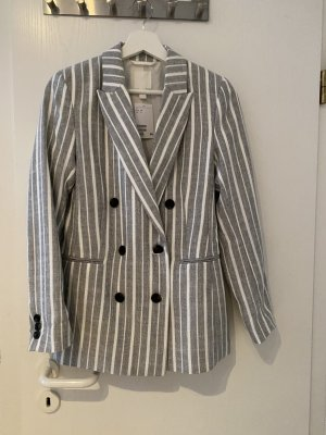 H&M Blazer stile Boyfriend grigio chiaro-bianco Lino