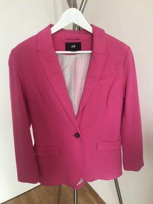 H&M Blazer de tela de sudadera rosa