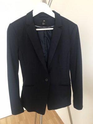 H&M Blazer de tela de sudadera azul oscuro