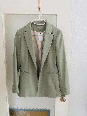 H&M Long Blazer sage green polyester