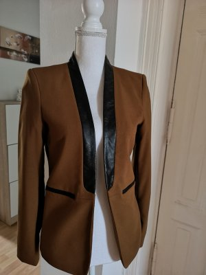 H&M Blazer de cuero negro-color bronce