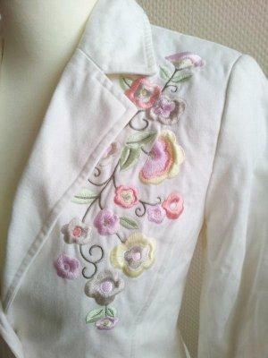 H&M Blazer in 36, Creme-Weiß / Bunt, Blumen-Stickerei, floral, pastell