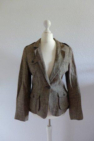 H&M Blazer Jacke braun beige meliert Safari Military Gr. 34 XS NEU