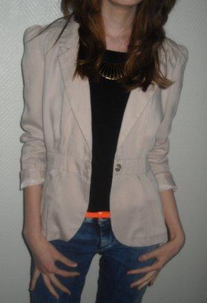 H&M Blazer Jacke nude beige Revers Kragen Puffärmel Gürtel 34 36 38 S M wie neu