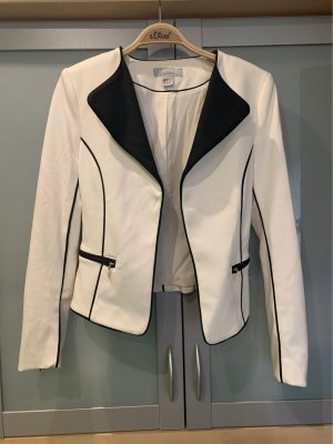 H&M Blazer mit Schulterpolster Schwarz Weiß