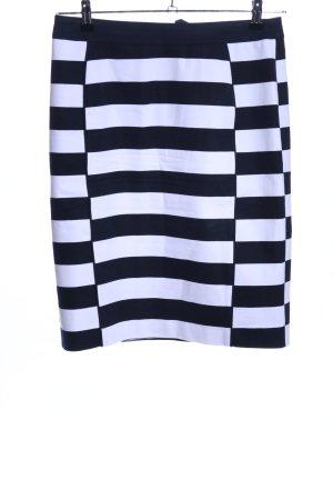 H&M Bleistiftrock weiß-schwarz Streifenmuster Casual-Look