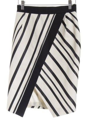 H&M Bleistiftrock schwarz-wollweiß Streifenmuster