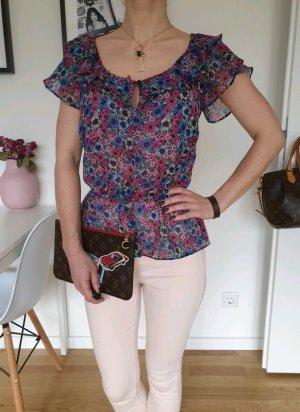H&M Blumen Peplum Bluse XS S 32 34 36 lila rosa Shirt Longshirt Oberteil Tunika Top Neu