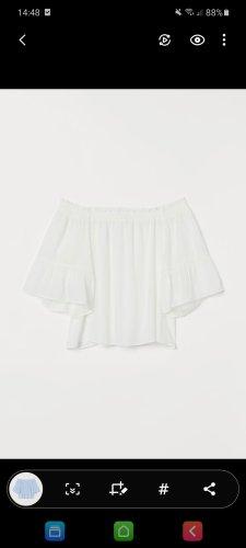 H&M Bluzka z krótkim rękawem w kolorze białej wełny