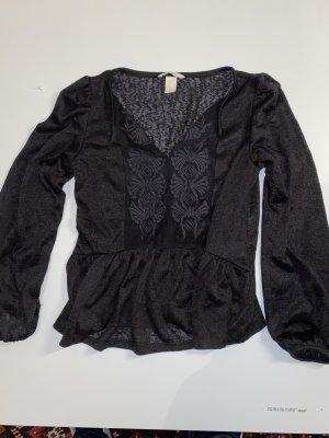H&M Bluzka jeansowa czarny