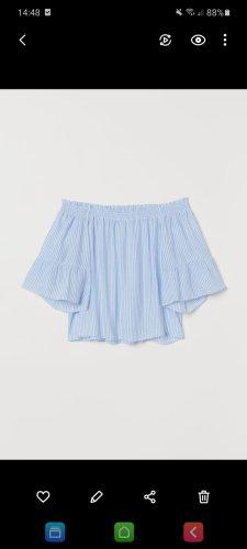 H&M Bluzka z krótkim rękawem biały-chabrowy
