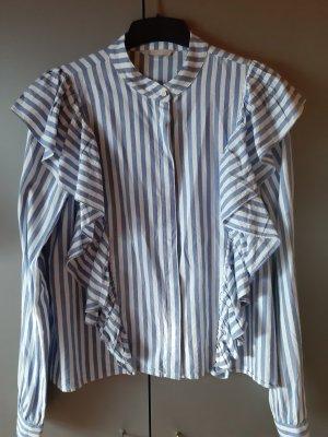 H&M Ruffled Blouse white-azure cotton