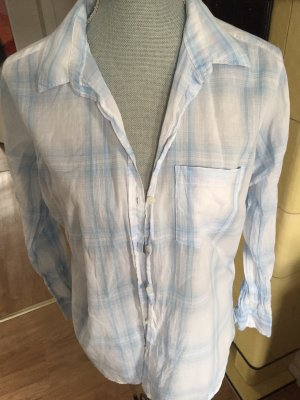 H&M Geruite blouse wit-lichtblauw