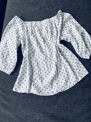 H&M Oversized blouse wit-donkerblauw