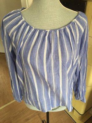 H&M Carmen blouse wit-blauw
