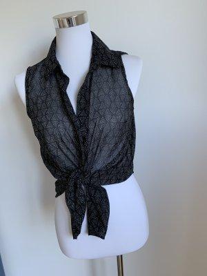 H&M Bluse ärmellos xs 34 schwarz weiss