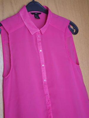 H&M / Bluse / ärmellose Bluse / Sommerbluse / transparent / pink
