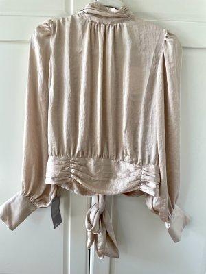 H&M Bluse aus Satin Gr. 42 rückenfrei Wickelbluse Schleife