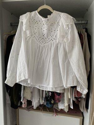 H&M Bluse Baumwolle langarm weiß mit Volants
