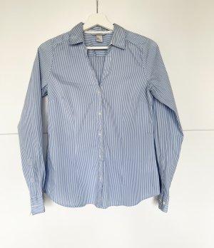 H&M Bluse blau weiss gesteift 38