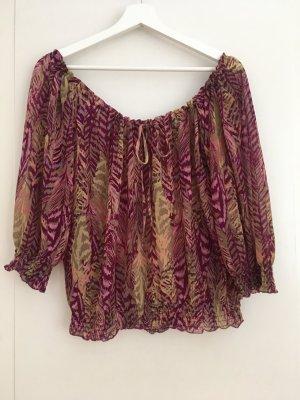 H&M Bluse Cami Camisole Shirt Lila Grün Gelb Tropical Blätter XS 34 NEU