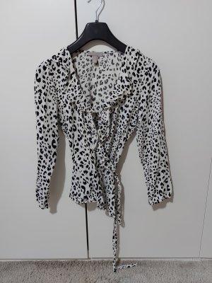 H&M Wraparound Blouse white-black