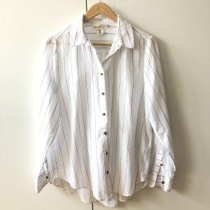 H&M Bluse Gr 36 Hemd Logg gestreift blau weiß langarm