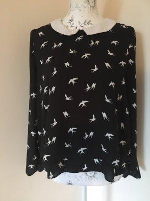 H&M Bluse Gr. 38 (36) schwarz weiß Schwalben Bubikragen top