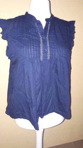 H&M Bluzka z falbankami ciemnoniebieski