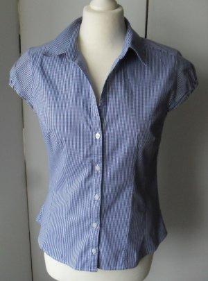H&M Bluse Gr. 42 Blau Weiß kariert nur wenig getragen