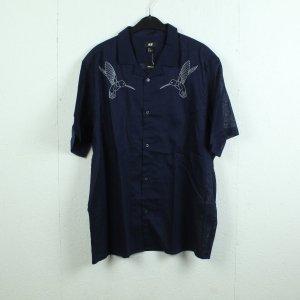 H&M Bluse Gr. XL dunkelblau Leinen NEU (21/01/064*)