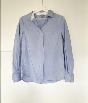 H&M Bluse Hemd blau weiss gesteift