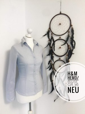 H&m Bluse Hemd langarm Oberteil blogger Burg Kleidung vintage Oberteil Hellblau gestreift