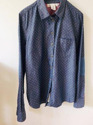 H&M Bluse jeansblau mit weissen Tupfen