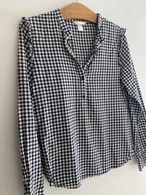 H&M Blusa a cuadros blanco-negro