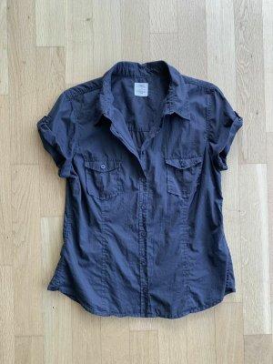 H&M Blouse met korte mouwen donkerblauw Katoen