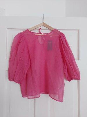 H&M Bluzka oversize różowy-różowy neonowy Lyocell
