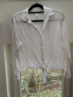 H&M Bluse mit Knoten weiß Crepe