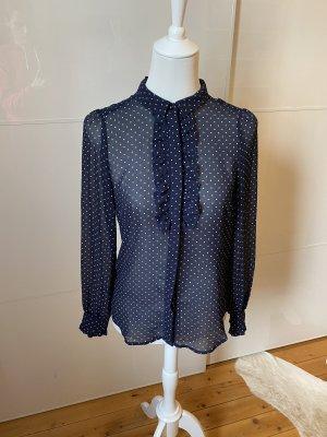 H&M Camicetta con arricciature blu scuro-bianco