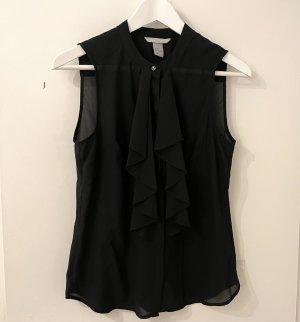H&M Bluse S 36 schwarz ärmellos Shirt Top Volant