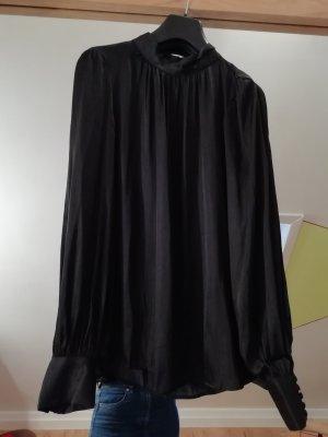 H&M Blusa con collo alla coreana nero