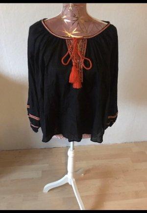 H&M Blusa con lazo negro-naranja