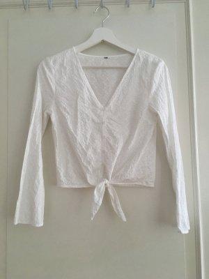 H&M Bluse Shirt Oberteil Broderie Anglaise Weiß Baumwolle Cotton XS 34 NEU