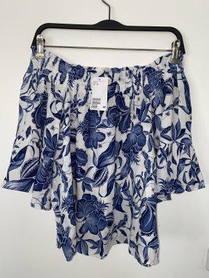 H&M Bluse Shirt Volant Ärmel Carmen Schulterfrei 34 XS