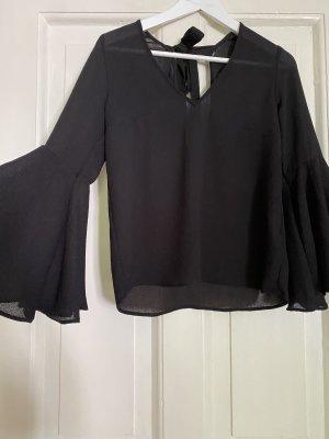 H&M Bluse transparent Trompetenärmel schwarz - S